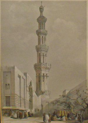"""David Roberts (1796-1864) """" Minareto della principale moschea di Siout Alto Egitto"""""""