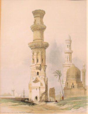 """David Roberts (1796-1864) """" Rovine della Moschea nel deserto a est de Il Cairo"""""""